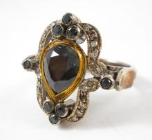INDIA BLACK DIAMOND, SILVER AND GOLD RING.  The st