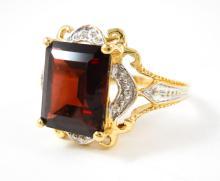 PYROPE GARNET, DIAMOND AND TEN KARAT GOLD RING, wi