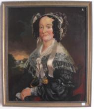 PORTRAIT OF AN ELEGANT LADY, OIL ON CANVAS, 19th c