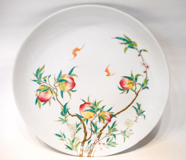 CHINESE FAMILLE ROSE PORCELAIN CHARGER with Cross