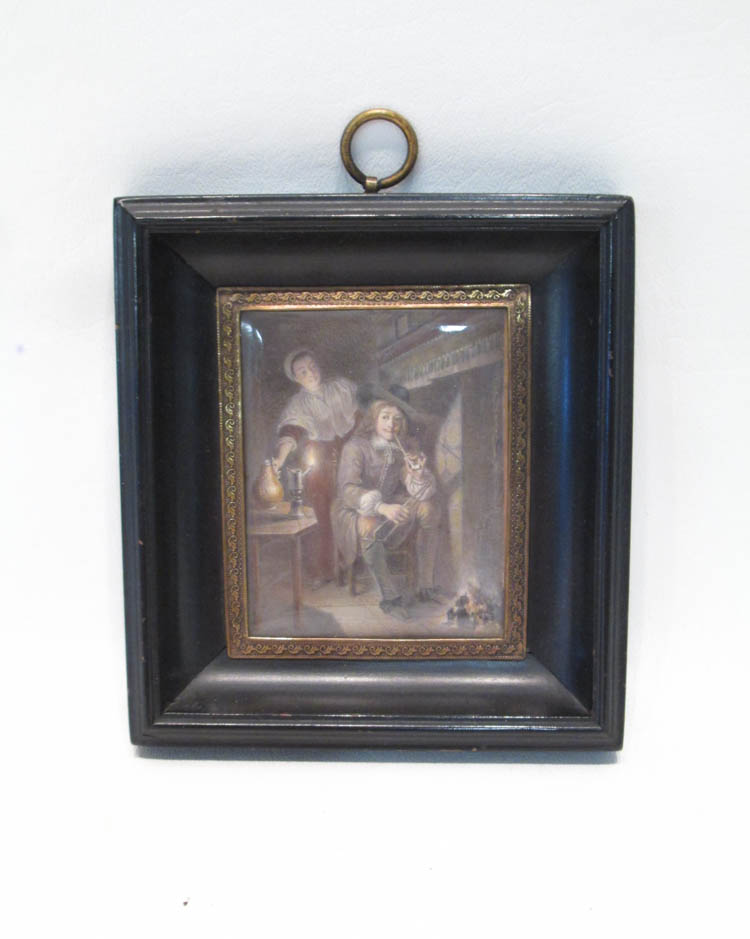A. BERTH MINIATURE PAINTING ON CELLULOID, interior