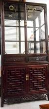 CHINESE ROSEWOOD DISPLAY CABINET ON CABINET, the u