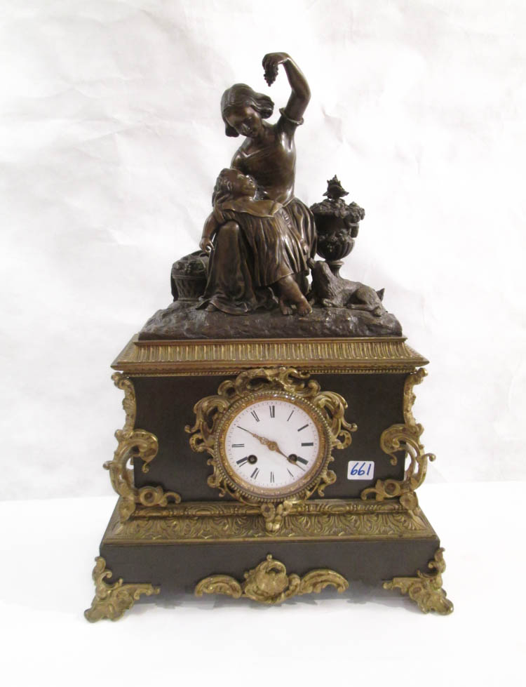 FIGURAL BRONZE CASED MANTEL CLOCK, French, 19th ce