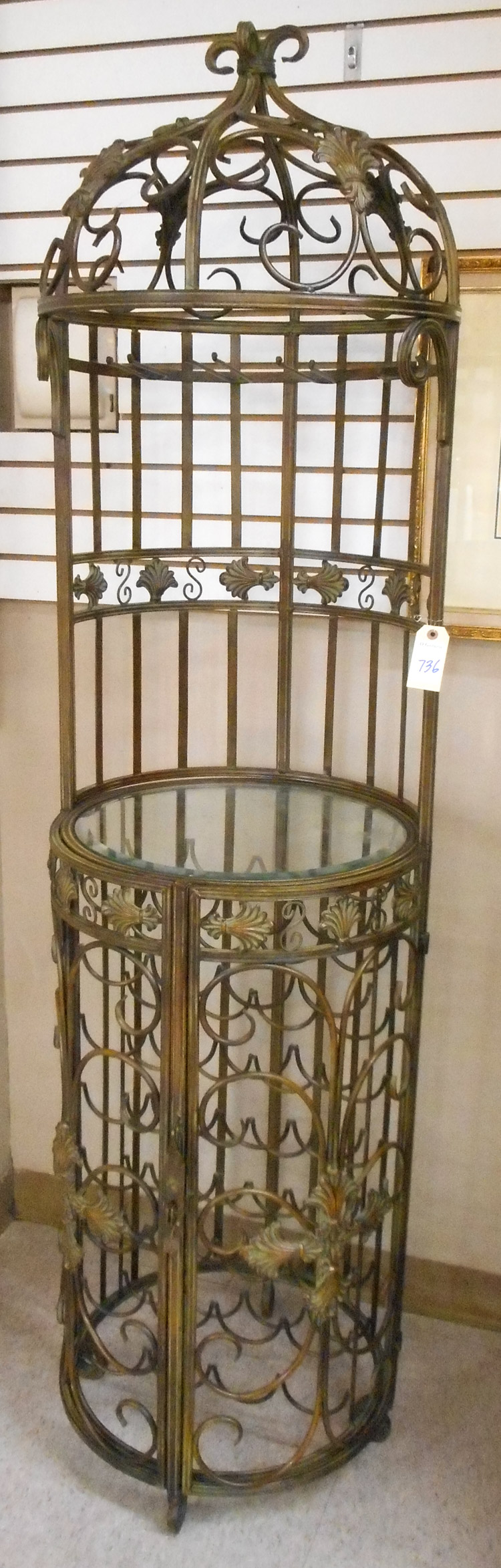 BRONZED WROUGHT IRON WINE SERVING STAND AND CELLAR