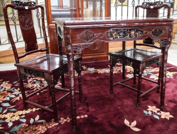 CARVED ROSEWOOD GAME TABLE AND CHAIR SET, Chinese,