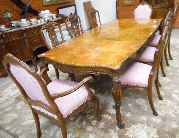 ELEVEN-PIECE LOUIS XV STYLE BURL OLIVE WOOD DINING