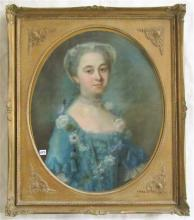 PASTEL ON CANVAS, portrait of a noble woman with p