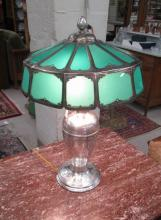 SILVER AND GLASS PANEL TABLE LAMP, with paneled ca