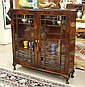 QUEEN ANNE STYLE MAHOGANY CABINET BOOKCASE,