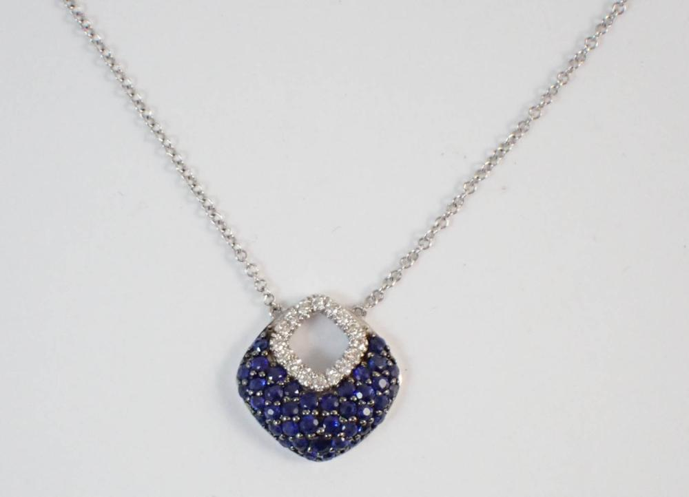 SAPPHIRE AND DIAMOND PENDANT NECKLACE, with a 14k