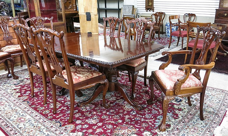 chippendale style mahogany dining table and chair