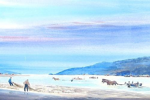 CHARLES MULVEY (Oregon City, Oregon, born 1918). Watercolor on paper An Oregon Coastal Scene with fishermen and horses wading and dragging nets near shore in bay with forested mountains in the distance. 40 in by 28 in. Signed Chas. Mulvey l.l. Custom