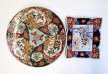JAPANESE IMARI CERAMIC CHARGER AND PLATTER, the