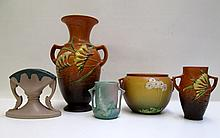 FIVE ROSEVILLE ART POTTERY PIECES, 2