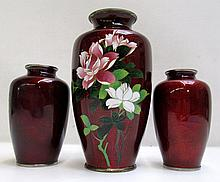 THREE JAPANESE CLOISONNE' ENAMEL VASES having high