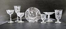 FOSTORIA GLASS STEMWARE AND TABLEWARE SET,