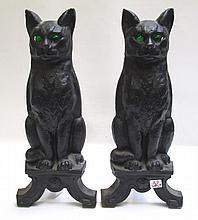 A PAIR OF CAST-IRON FELINE ANDIRONS, American,