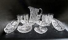 TWELVE CUT CRYSTAL TABLEWARE PIECES: 1 water