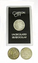 THREE U.S. SILVER MORGAN DOLLARS: 1921-P (2) and