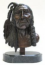 CAST BRONZE AMERICAN INDIAN BUST SCULPTURE after