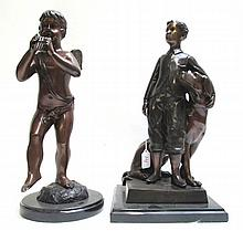 TWO CAST BRONZE STANDING FIGURAL SCULPTURES, the