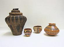 FOUR NATIVE TRIBAL VESSELS: 1) small Jemez Pueblo,