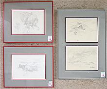 EDWARD B. QUIGLEY, FOUR GRAPHITE SKETCHES