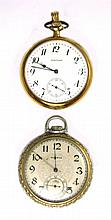 TWO AMERICAN WALTHAM OPEN FACE POCKET WATCHES: