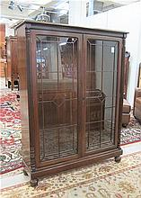 FEDERAL STYLE WALNUT CABINET BOOKCASE, having four
