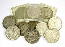 ELEVEN U.S. SILVER MORGAN DOLLARS: 1881-S, 1885-O