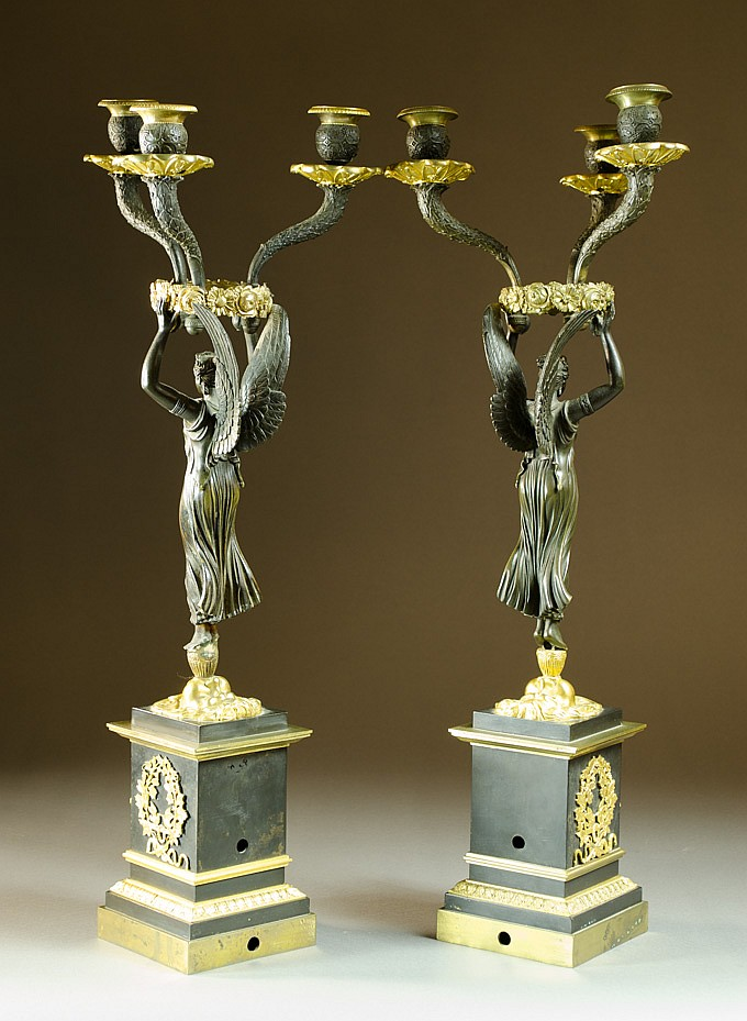 """PAIR PARCEL GILT BRONZE """"WINGED VICTORY"""" CANDELABR"""