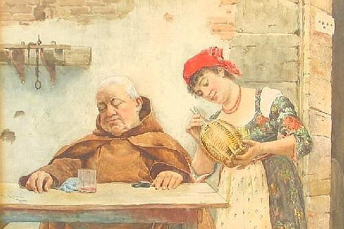 NAZZARENO CIPRIANI (Italian, 1843-1923) Watercolor on paper Interior scene with monk asleep at table, empty glass before him while young woman in red bandana examines depleted wine jug. 21.5in. by 14.25in. sight) Signed N. Cipriani Roma l.l. In gilt