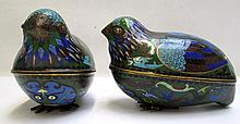 PAIR OF CHINESE CLOISONNE QUAIL BOXES in bird