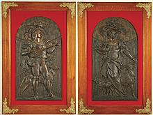 CARL BORNER, PAIR OF BRONZE RELIEFS (German,