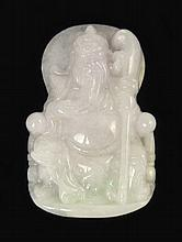 LIGHT LAVENDER CARVED JADE PENDANT of a seated