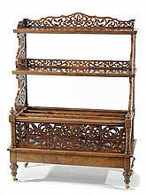 VICTORIAN BURL WALNUT CANTERBURY/ETAGERE, English,
