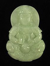 CHINESE LIGHT GREEN JADE PENDANT, depicting a
