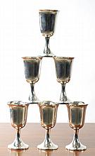 SET OF SIX STERLING SILVER APERITIF GOBLETS, by