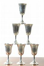 SET OF SIX STERLING SILVER WATER GOBLETS, by