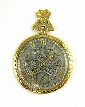 AN EIGHTEEN KARAT GOLD OPEN FACE POCKET WATCH,