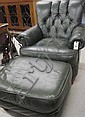 GREEN LEATHER EASY CHAIR AND MATCHING OTTOMAN by