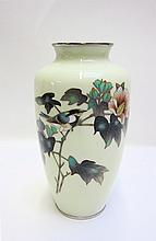 JAPANESE CLOISONNE VASE in baluster form with a