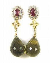 PAIR OF RUBY, DIAMOND AND OLIVE GREEN QUARTZ