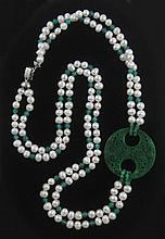 JADE AND PEARL DOUBLE STRAND NECKLACE, measuring