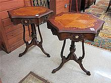 A PAIR OF CARVED AND INLAID LAMP TABLES, Louis XV
