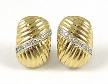 PAIR OF DIAMOND AND FOURTEEN KARAT GOLD EARRINGS,