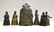 FIVE BRASS FIGURAL BELLS AND ONE CHINESE BELL,