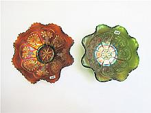 TWO CARNIVAL GLASS BOWLS in the