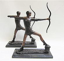 PAIR PATINATED BRONZE ARCHER SCULPTURES, mounted