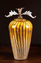GARTNER BLADE ART GLASS LIDDED VASE, Batik with Av